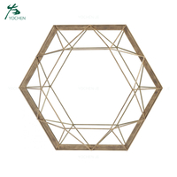 Hexagon Antique Gold Metal Framed Decorative Wall Mirror