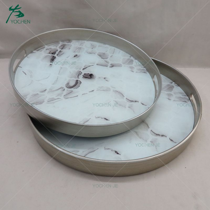 Mirrored decorative vanity marble serving tray