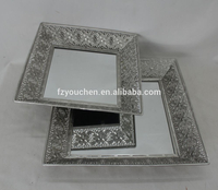 Metal Silver Flower Design Square Mirrored Tray