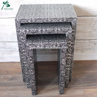Black Silver Embossed Antique Effect Set Of 3 Nested Tables
