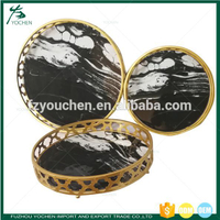 Set 3 Metal Round Tray with Marble Finish