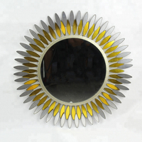 Antique Sunflower Decorative Round Wall Metal Mirror