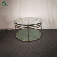 Luxury modern glass round dining table with stainless steel legs