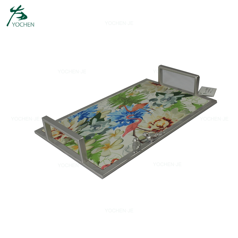 Rectangle antique marble metal tray with handle