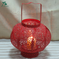 Halloween wire cage red metallic candle holder