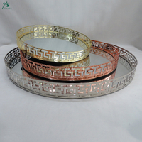 Handmade Round Decorative Mirror Tray Sets of Three