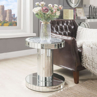 Sparkly modern living room furniture crushed diamond furniture mirrored side table glass top