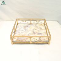 Home Decoration Marble Serving Metal Tray In Square Gold-Plated