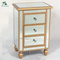 3 drawer nightstand side table mirror bedside table cabinet