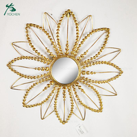 Home hanging flower shape decorative gold wall mirror