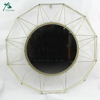 Antique vanity round shape metal framed wall decorative mirror