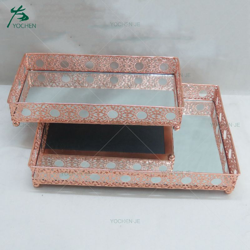 Moroccan decorative silver mirror glass metal tray