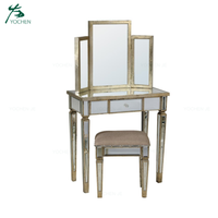Royal antique luxury furniture mirrored combination dressing table set