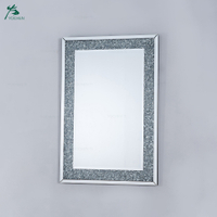 Diamond crush mirrored venetian glass rectangular mirror