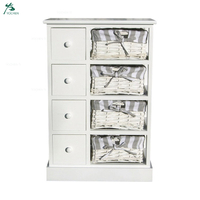 Bedroom Storage Dresser 4 Drawers Wood cabinet with basket drawer