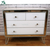 4 Drawer Chest Modern White Mirrored Wooden Cabinet