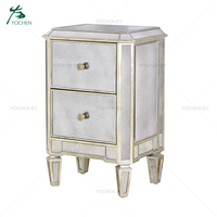 Antique Aged Gold Gilded Small Two Drawers Mirrored Bedside Table