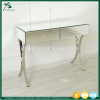 Venetian Mirrored Two Drawer Curved Leg Console Table Hallway Living room Bedroom