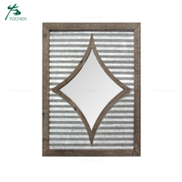 Wood and metal square decorative wall metal mirror