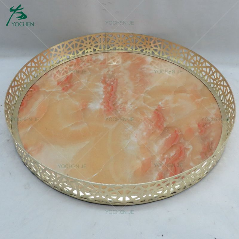 Hotel glass metal silver decorative mirror marble serving tray