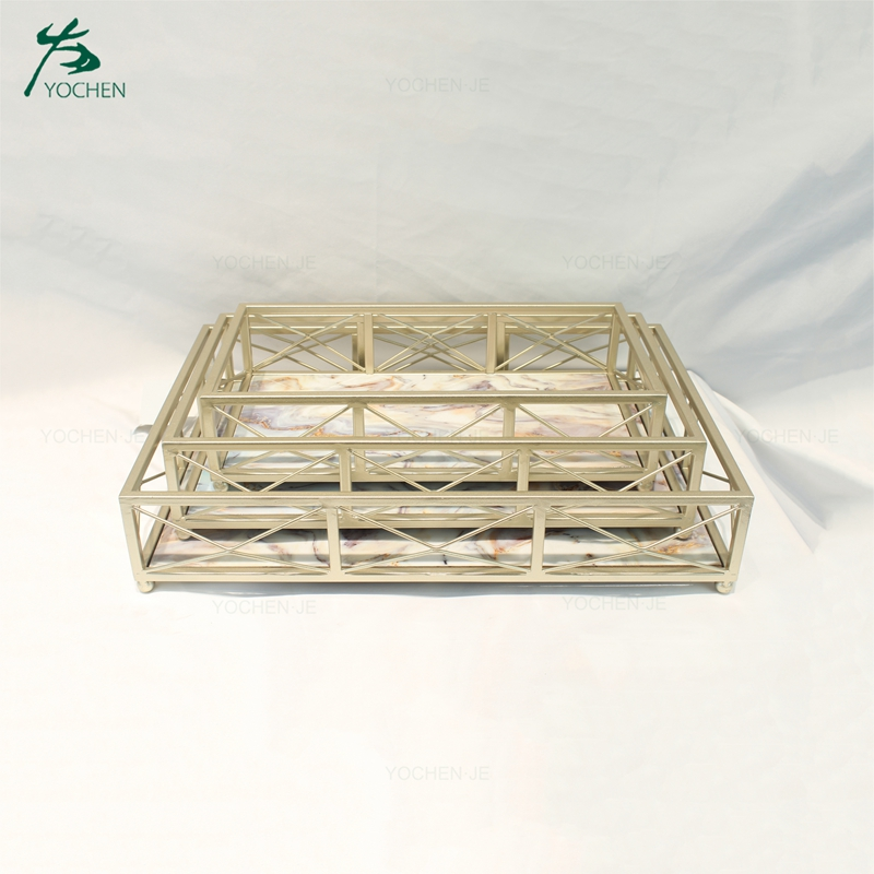 Home Decoration Marble Serving Metal Tray