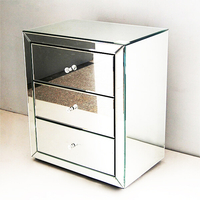 Silver Glass 3 Drawer Mirrored Bedside Table Cabinet