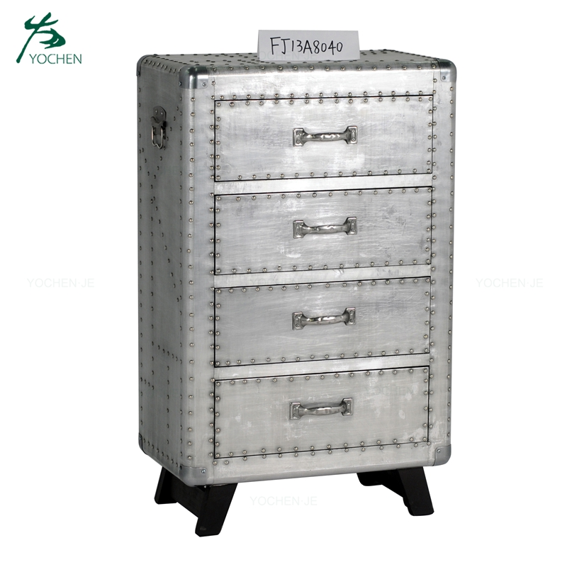 Industrial aluminium vintage 4 drawer storage cabinet