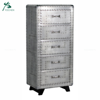 modern living room furniture aluminum sheet surface tall wood cabinet