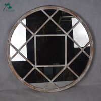 Promotional industrial custom rustic antique outdoor garden art decor vintage window wall mirror