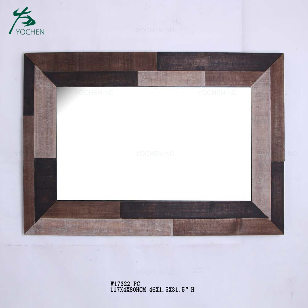 Rustic wooden frame mirror antique wood decorative wall mirror