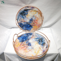 Faux Round Candle Holder Metal Marble Tray Set Of 2