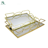 Best sale glass serving cafe mirror tray gold plated mirror tray with handles