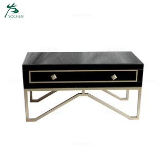 Antique Styled Gold Rectangular Black Mirrored Coffee Table