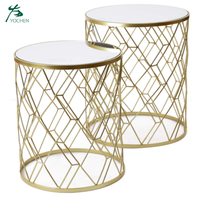 gold decorative nesting round set of 2 metal end table