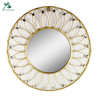Living room decorative bathroom gold large round mirror