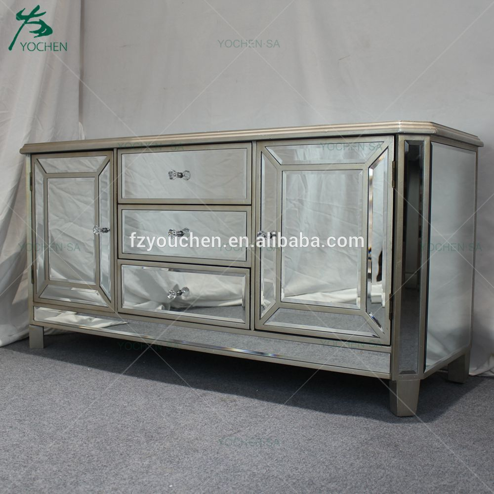 Antique Gold Mirrored Glass 3 Drawer 2 Door TV Cabinet Stand Unit