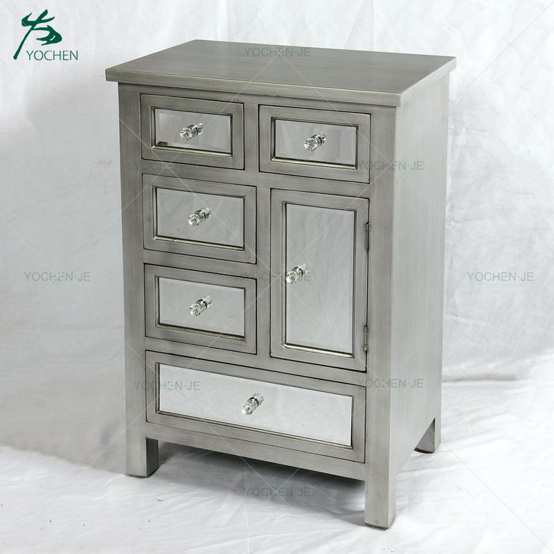 solid wood cabinets storage with six glass drawers for UK market