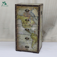 decoration center piece hand paint wooden cabinet with flower