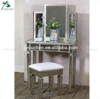 Antique Silver Mirrored Makeup Dressing Table Bedroom Furniture