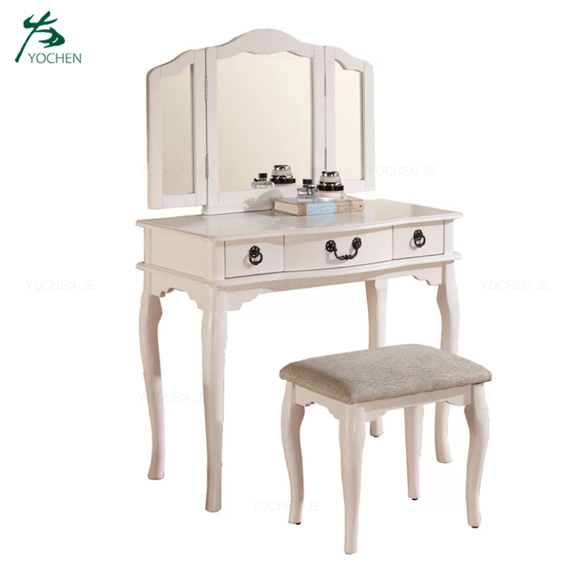 Modern dressing table makeup wooden dresser with mirror