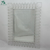 Metal Embossed Silver Leaf Painting Wall Mirror for Home Decor