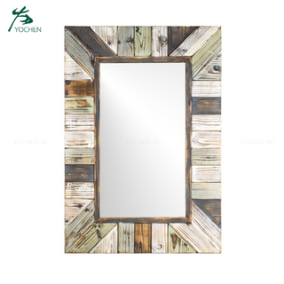 Rustic wood plank decorative wall mirror