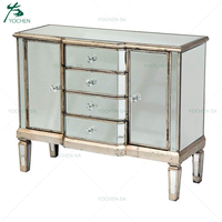 2 Door 4 Drawer Champaign Gold Mirrored Sideboard