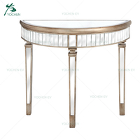 Antique Gold Trim Half Moon Mirrored Classic Console Table