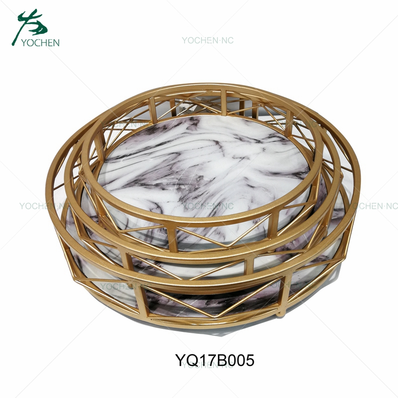 Marble gold plated decorative tray