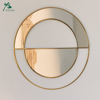 living room metal frame wall round decorative mirror