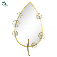 gold leaf shape decorative wall mirror