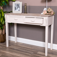 wash white wood panel vintage industrial console table