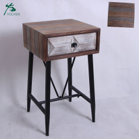 solid wood furniture with black metal legs antique french bedside table