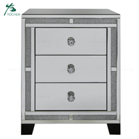 Diamond crush bedroom furniture nightstand side table mirror bedside table